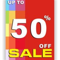 Up to 50% off sale card